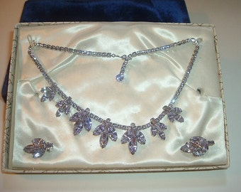 Vintage Signed Weiss Choker Necklace and Earrings Set Free US Shipping