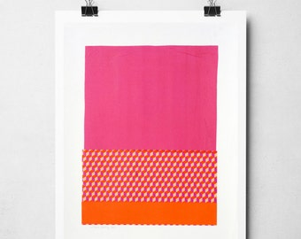 Colourful wall art, pink and orange artwork, Original artwork, Paper collage on high quality support paper, acid free