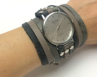 Women Watch In Grays-Gray Wrap Watch-Women Watches-Wrist Watch-Womens Watches-Watch-Womens Watch