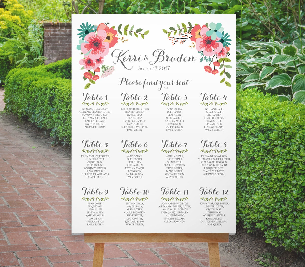Wedding Seating Chart, Table Seating Plan, Printable Coral Mint ...