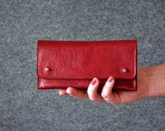 Womens Wallet - Leather Clutch - Ferrari Red Color - Leather Purse, Clutch Bag