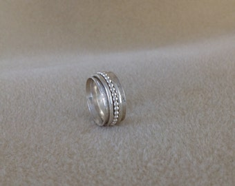 Sterling and Fine silver three band spinner ring