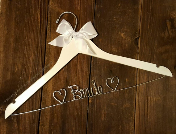 Bride hanger wedding dress hanger last name hanger mrs for Wedding dress hanger name