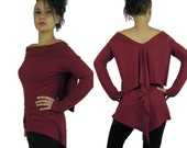 Jumper Long sleeve top  Designer top Collared blouse asymmetrical hem Alternative clothing