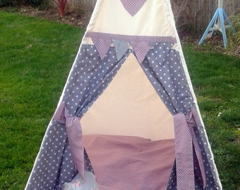 Childrens Teepee, Grey and Pink Spots