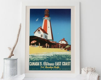 PEGGY'S COVE Travel Poster - Canada Travel Print Nova Scotia Travel Poster Canadian Pacific Poster Maritimes Travel Print Lighthouse Poster