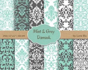 "Damask Digital Paper: ""Mint and Grey Damasks"" damask patterns, mint and grey digital paper, cardmaking, invitations"