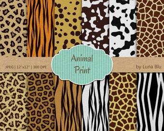 "Animal Print Digital Paper: ""Textured Animal Prints"" short fur, with tiger, zebra, cheetah, leopard, cow, giraffe, jaguar, dalmatian"