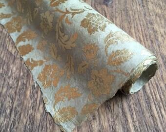 Handmade Floral Gift Wrap ~ Lokta Paper ~ Sage Green & Gold. 75 x 50cm.