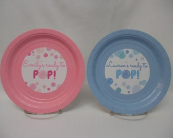 """Baby Shower """"She's Ready to POP!"""" Boy, Girl, Gender Neutral, Personalized 9"""" or 7"""" Paper Plates. I Can Do YOUR Baby Shower Colors!"""
