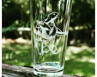 Grateful Dead Pint Glass SHIPPING INCLUDED Terrapin Station Tempered Pub Glass Grateful Dead Barware