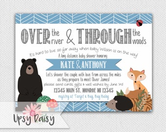 Long Distance Baby Shower Invitation, Boys, Blue Woodland Forrest Friends Rustic Fox Shower By Mail Animal Customized (I Design, You Print)
