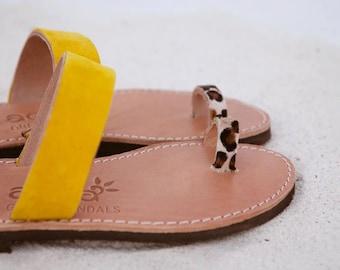 aelia greek sandals / aristocratic/yellow and animal print haircalf