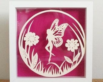 Papercut, papercut art, fairy art, fantasy art, fairy wings, handmade, hand cut, home decor.