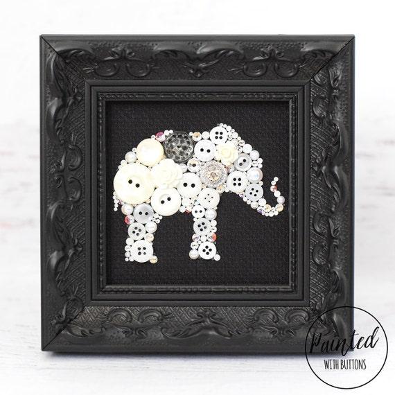 White Elephant Framed Button Art Elephant Wall Hanging