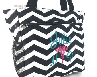 Many Colors! Nurse Bag, Nurse Tote Bag, Monogrammed Multi-Purpose Gray Chevron Tote Bag, Nursing Caduceus symbol, Nurses Gifts, Work Bag