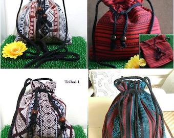 Small Thai Style Hippie Boho Handmade Cotton Fabric Woven Lanna Sling Shoulder Tote Cross Body Bag