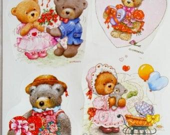 Vintage Stickers -  Giordano Teddy Bears - Sheet of 4 Bearhugs