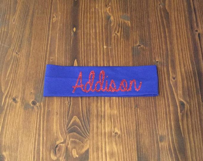 Custom CURSIVE cotton knit headband-12 Colors