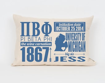 pi beta phi custom sorority facts pillow greek letter pillow big little gift sorority letters sorority gift dorm decor