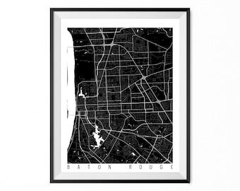 Baton Rouge City Map Art Print Baton Rouge Poster Baton Rouge Wall Art