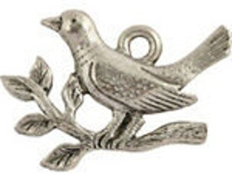 5 Pewter Dove and Olive Branch Charms, 18x19mm, Made in USA, #Q128