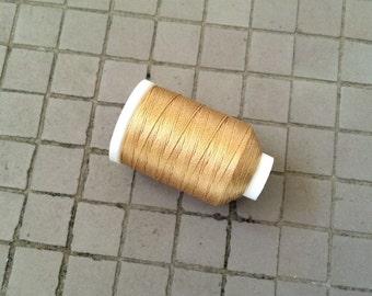Vintage Gudebrod/Utica Silk Thread Spool, Yellow Gold, Size F, 185 Yards