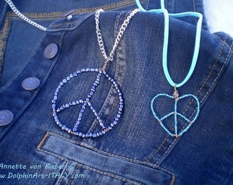 PEACE & LOVE sign in different colors and shapes.