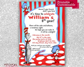 Cat in the Hat Birthday Party Invitation - Dr. Seuss Party - Suess - Thing 1 - Thing 2 - Printable & Personalized - A-00004