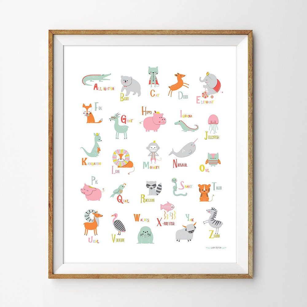 Alphabet poster instant download alphabet print abc wall for Alphabet wall decoration