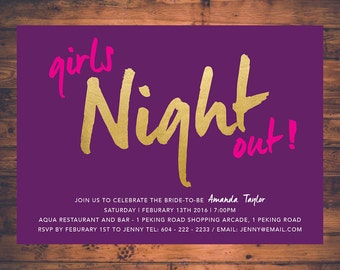Girls Night Out Bachelorette Party Invitation Card Bridal Invite Hen Party Stagette Party Birthday Faux Gold Foil Fun Invite Cards BP09