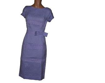 Vintage 1960's Wiggle Dress Light Violet Sppretty Attached Lace  NWOT