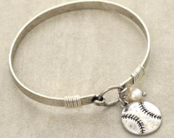 Burnished Silver Baseball Bangle Braclet