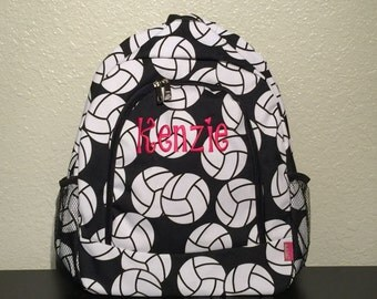Volleyball Print Monogrammed School Backpack