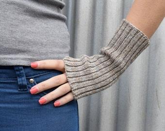 Wool Wrist Warmers / Fingerless Mittens - Grey Marl