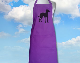 TODAY ON SALE Whippet / Little Greyhound ~ Silhouette Hand Screen Printed Magenta Purple Pure Cotton  Apron.