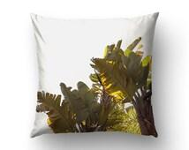 Banana Leaf Pillow, Tropical Decoration, Nature Photo, Home Decorating, Nature Decor