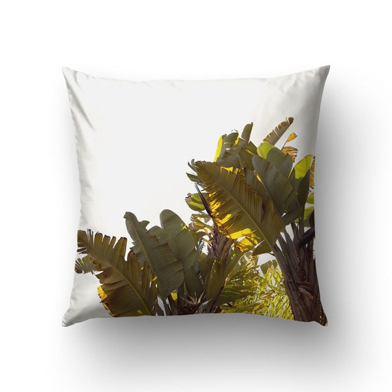 Banana leaf pillow tropical decoration nature photo home for Artificial banana leaves decoration