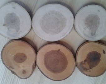 Wood circle 6 pcs, Unregular wooden coasters, Tree slices, wooden slices, Rustic table decor, Country style, Wedding decors,Medals