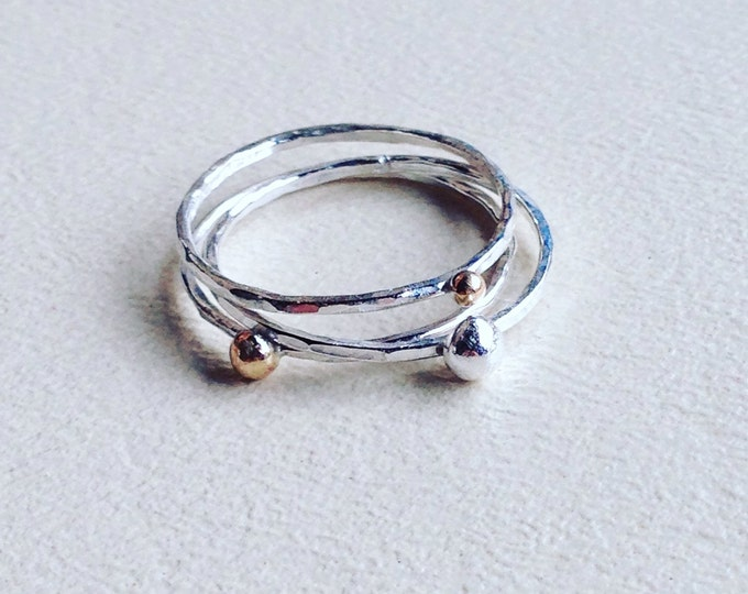Sterling silver stacking rings hammered with mixed metal ball accents