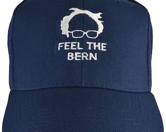 Bernie Sanders FEEL THE BERN navy blue embroidered hat, for President