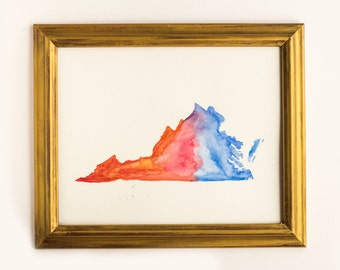 Virginia State Watercolor Art