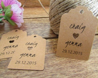 Wedding Favor Tags | Personalized Favor Tags | Shower Gift Tags | Bride & Groom's Names and Wedding Date | Sets of 25 Tags | PREORDER August