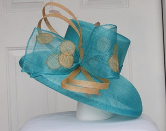 Turquoise Sinamay with Beige Accents