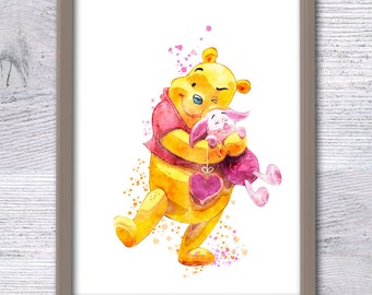 Winnie the Pooh and Piglet art poster Disney watercolor decor Winnie and Piglet print Home decoration Child room decor Baby shower gift V51