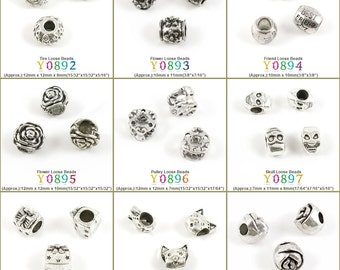 Loose Beads Beading Supplies Tire Flower Friend Pulley Skull Bowtie Hangbag Cat Rose Antique Silver Tone Retro Pendant Lots Bulk Necklace