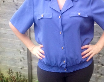 Vintage womens top, royal blue, size 12, 1990's, gold buttons