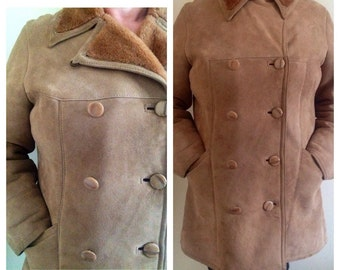 Sheepskin coat, 100% genuine vintage womens, size 14, 1970s, excellent condition, mod, sale, vintage clothing