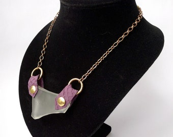 Thick Frosted Sea Glass Statement Necklace with Italian Leather Mounting on Antiqued Brass Chain