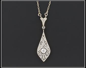 Antique Diamond Necklace   Edwardian Platinum & Diamond Necklace   Diamond Bridal Necklace   Edwardian Necklace